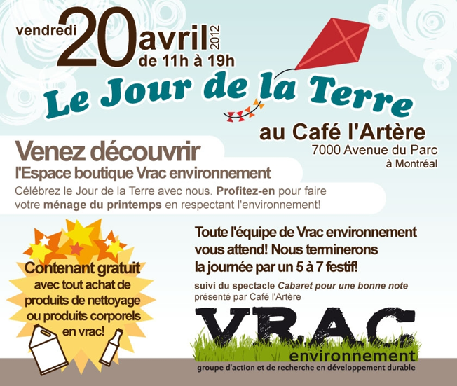Earth Day sale at Boutique VRAC / Vente jour de la Terre à la boutique VRAC
