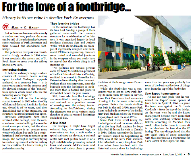 Footbridge article in Park Ex News