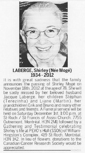 Notice of Shirley Laberge's death in the November 24, 2012 Montreal Gazette.