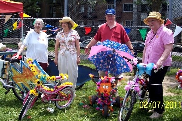 Shirley Laberge and decorated bikes at the 2011 Parc-Ô-Fête