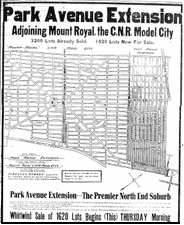 Ad for lots in Park Avenue Extension from the April 11, 1912 issue of the Montreal Gazette