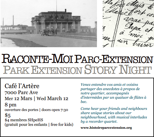 Raconte-moi Parc-Ex / Neighbourhood Story Night 2014